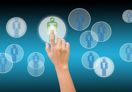 hand pushing the Social Network button  Stock Photo