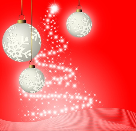 yule: christmas red background with balls