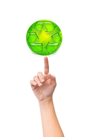 hand recycle arrows earth isolate white background Stock Photo - 10710973