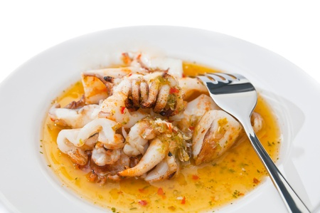 calmar: roasted squid with sauce on dish