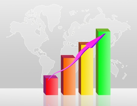 world economy: colorful business Bar chart illustration on a world map background