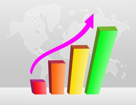 barchart: colorful business Bar chart illustration on a world map background