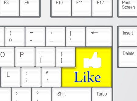 Keyboard with yellow Like button, social network concept  photo