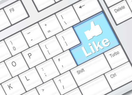 Keyboard with Like button, social network concept Stock Photo - 10739394