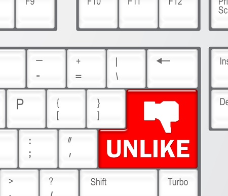 Keyboard with Unlike button, social network concept  photo
