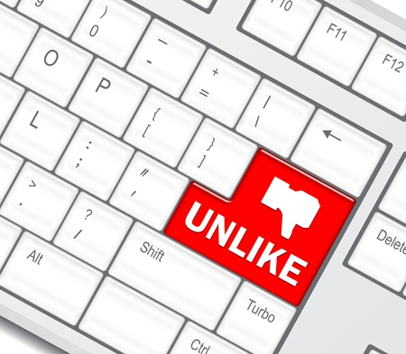 unlike:  Keyboard with Unlike button, social network concept  Stock Photo