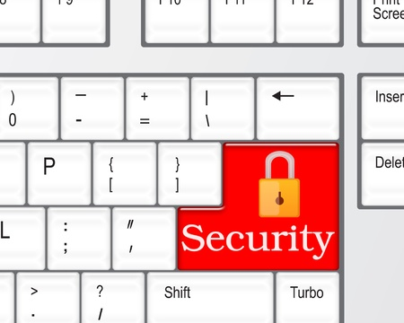 Security concept - computer keyboard with Security keypad  Stock Photo