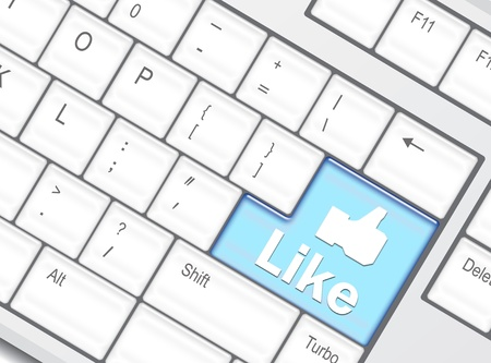 Keyboard with Like button, social network concept  Stock Photo - 10739820