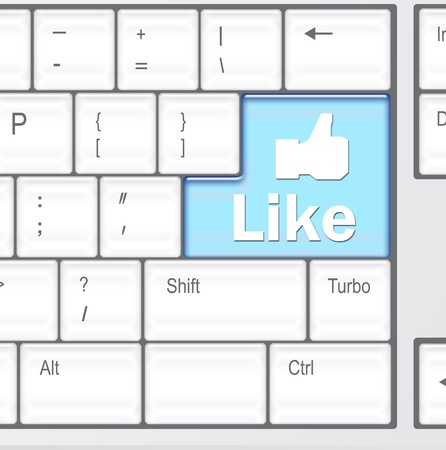 Keyboard with Like button, social network concept  photo
