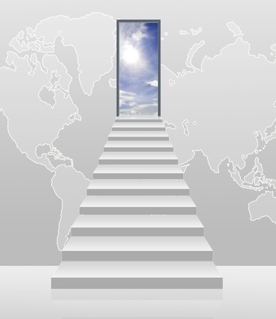 stairway to the sky with world background photo