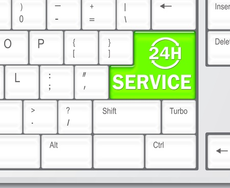 Keyboard with SERVICE 24 hours button concept photo