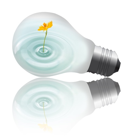 overuse: yellow flower with water growing inside the light bulb