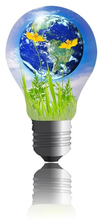 The world with grass inside the light bulb  isolated on white background. Earth globe image provided by NASA Stock Photo