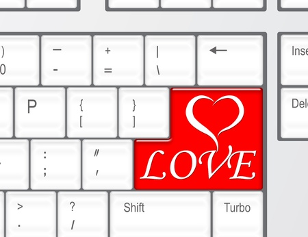 A Red Heart Key On A Black Computer Keyboard Stock Photo Picture