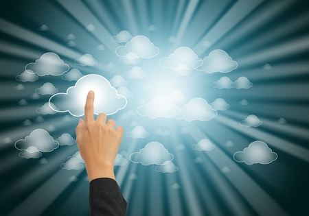 hand pushing the cloud computing button Stock Photo - 11068570