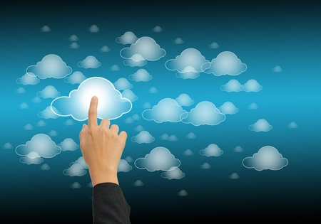 hand pushing the cloud computing button Stock Photo - 11065058