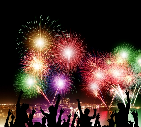 firework: Night view and firework with happy people at Pattaya city, Thailand