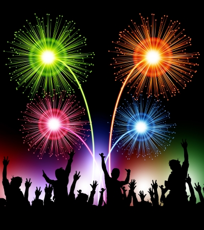young people party: fireworks with happy people