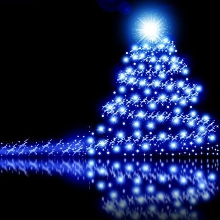 Blue Christmas tree background isolated on black photo