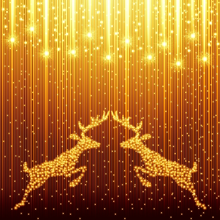 golden christmas background with reindeer