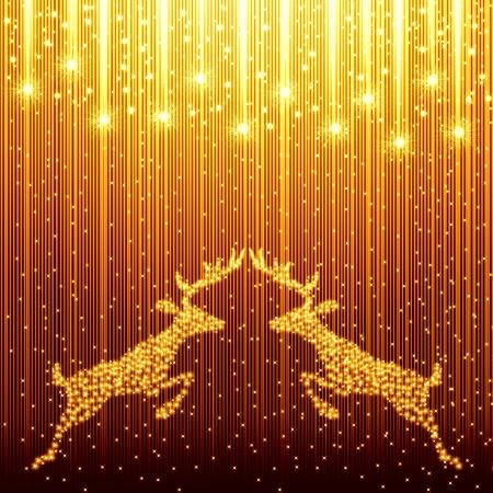 reindeer christmas: Navidad de oro del fondo con renos