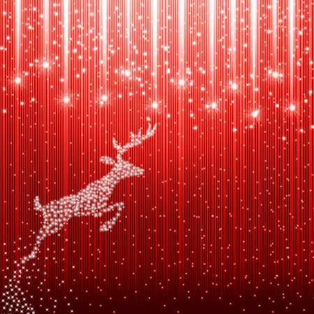magic book: Red christmas background with reindeer