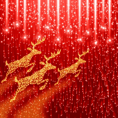 Red christmas background with reindeer photo