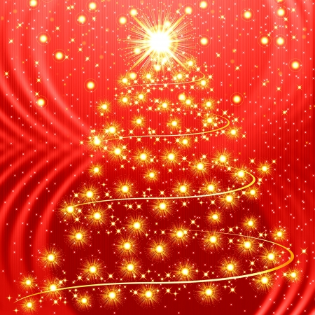 magic book: Red christmas background with golden tree
