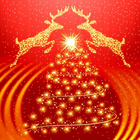 magic book: Red christmas background with golden tree and reindeer