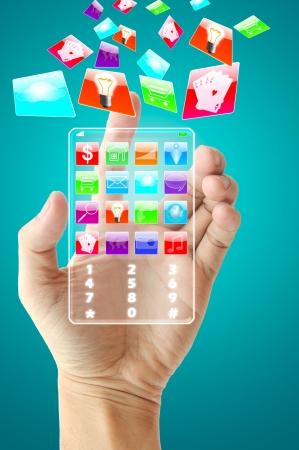 Hand halten zukünftige Handy-Technologie Lizenzfreie Bilder