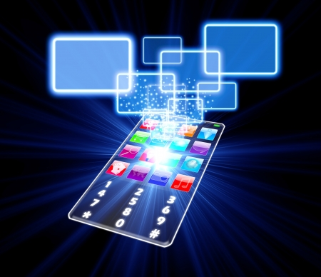 hightech: Glass phone touchscreen choice concept isolated on black Stock Photo