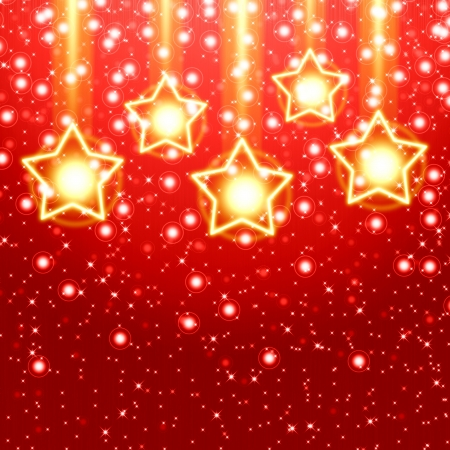 Red christmas background with golden star photo