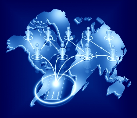 social network, communication in the world with phone glass technology global business