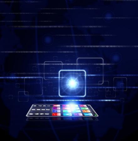 virtual button concept with mobile phone photo