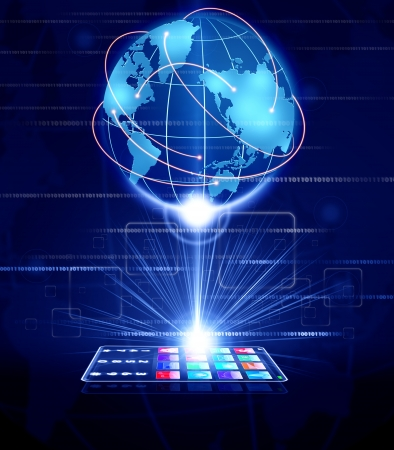 Glass phone touchscreen connect to global business