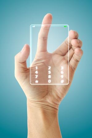Hand hold future phone technology photo