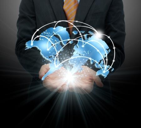 сеть: Бизнесмен проведение глобального бизнеса Фото со стока