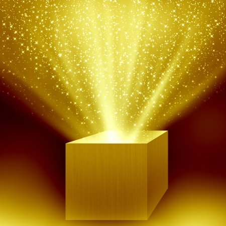 the miracle: christmas box with golden light Stock Photo