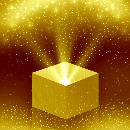 christmas box with golden light Stock Photo - 16458282