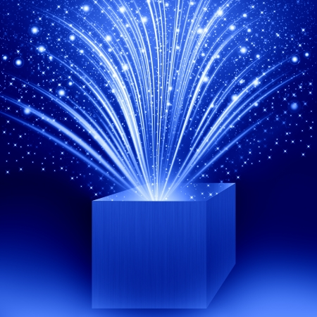 christmas box with blue light Stock Photo - 16656316