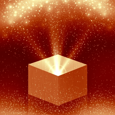 christmas box with orange light
