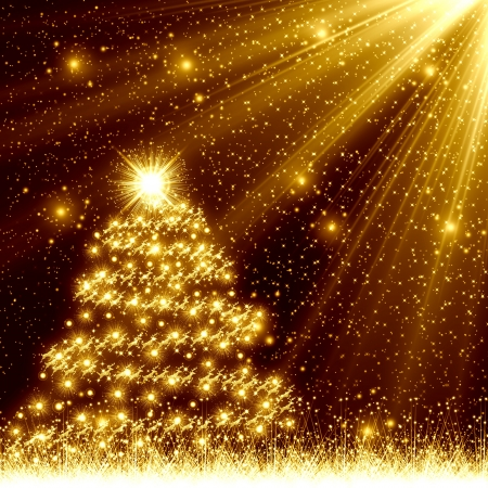 Golden Christmas tree background photo