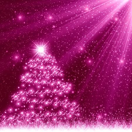 Pink Christmas Tree Background Stock Photo