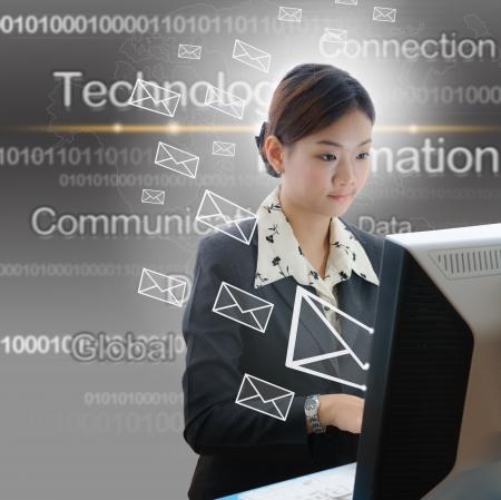 data entry: Asia yong businesswoman typing on laptop keyboard  Stock Photo
