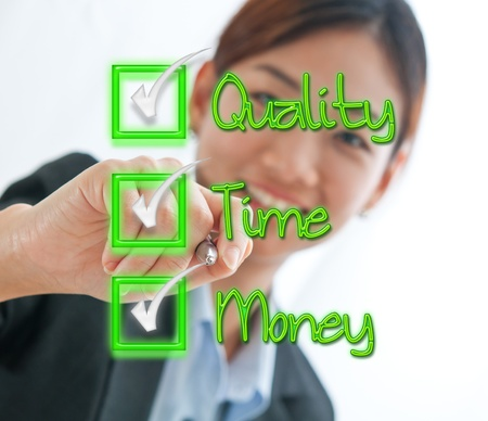time money: Businesswoman check box concept of time, quality and money isolated on white Stock Photo