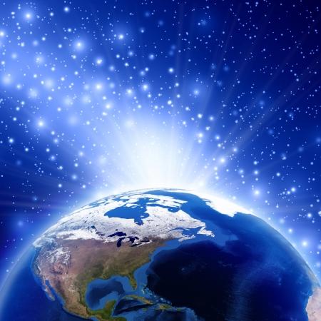 Planet Erde mit Sonnenaufgang Nordamerika, Bild Erdekugel von der NASA zur Verfügung gestellt