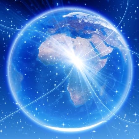 Afrique, Europe et Asie carte, image Globe fourni par la NASA