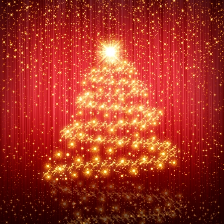 Red Christmas tree background photo