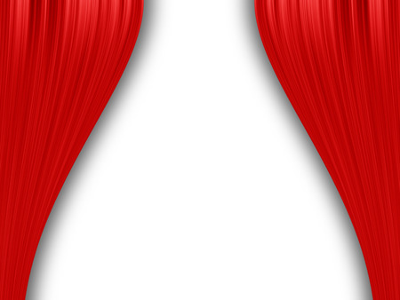 drape:  Red curtain isolated on white Stock Photo