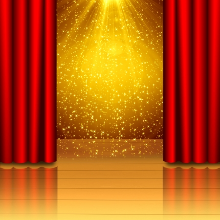 reveal: Red curtain open on wood stage with black isolated